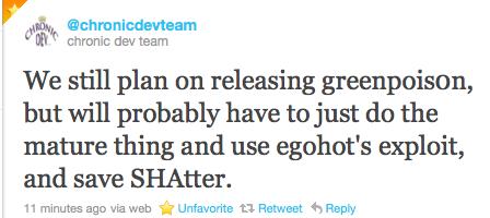 The Chronic Dev-Team Tweet